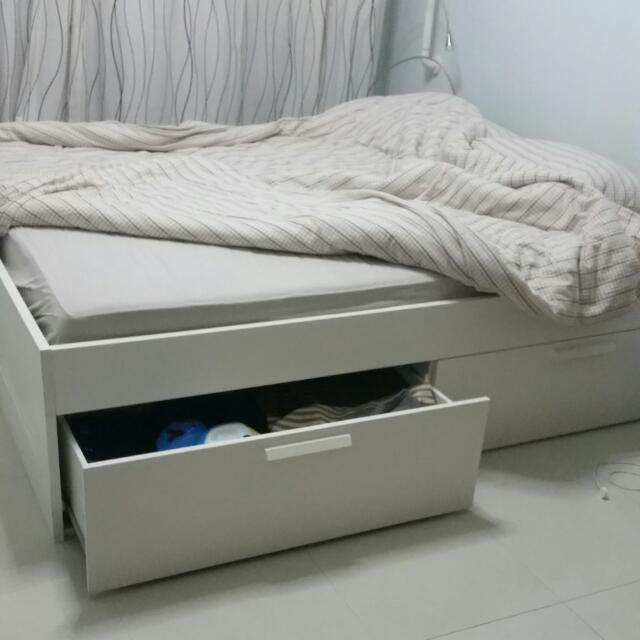 uk availability 72d1e e3768 Ikea Brimnes Bed Frame With Storage., Furniture on Carousell
