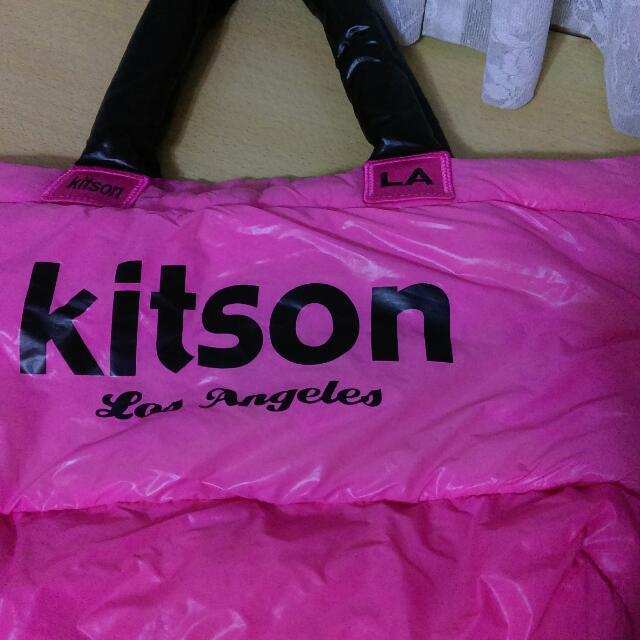 Kitson桃紅色空氣包 媽媽包