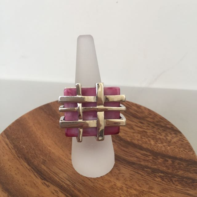 Brand New Statement Ring - Oversized Purple and Silver Coloured Lattice Ring