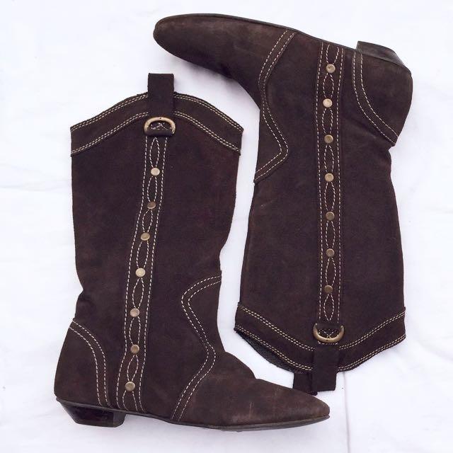 Zara Flats Cowboy Boots