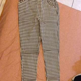 💜現貨💜黑色格紋貼身鬆緊筆管顯瘦內搭褲