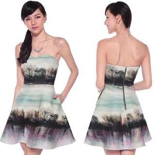 Love Bonito Farryne Forest Print Neoprene Dress