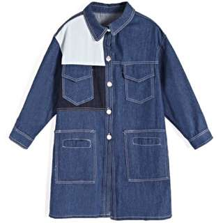 設計款口袋長版牛仔外套