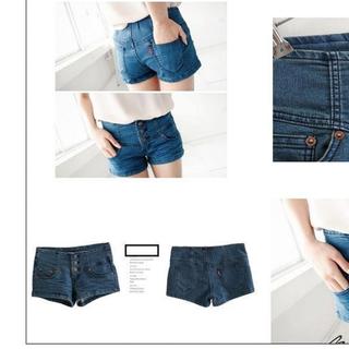 高腰感三釦牛仔短褲M.L號