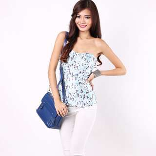 Merida Emboss Bustier In Blue By MGP Label