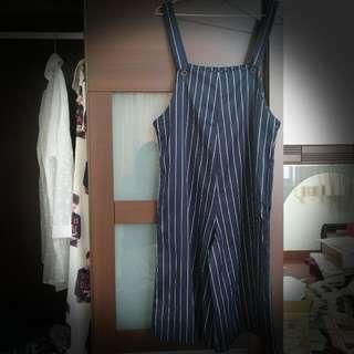 深藍條紋吊帶寬褲