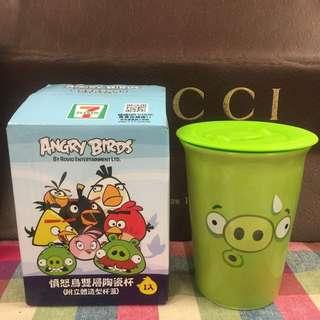 最後出清 7-11 憤怒鳥隨行杯 雙層陶瓷杯-小小豬杯