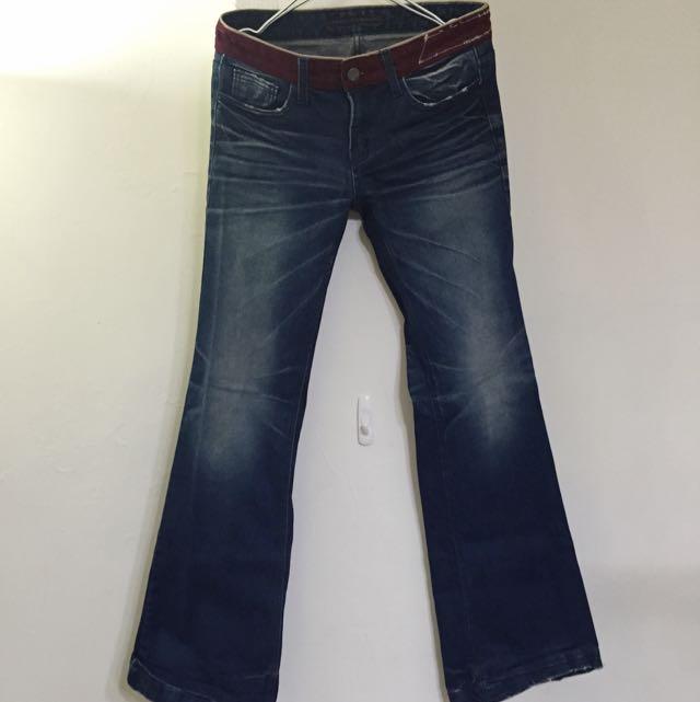 (加購)低腰深藍大喇叭牛仔褲