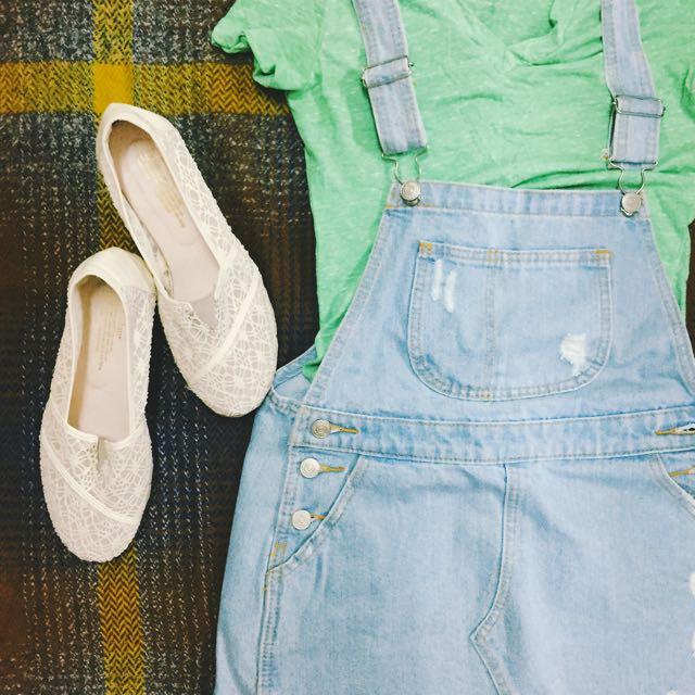 (正韓)白色蕾絲楔型鞋