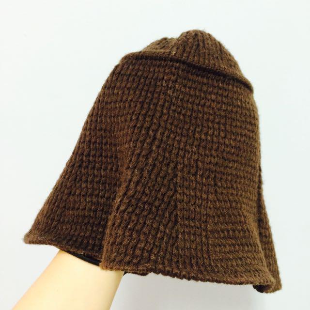 咖啡色針織毛帽