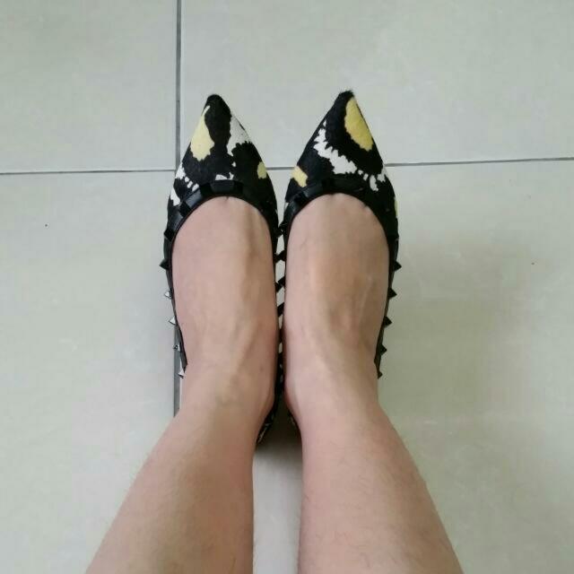 豹紋鉚釘平底鞋