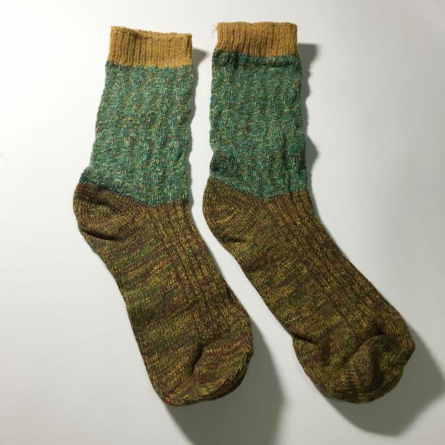 全新撞色墨綠襪