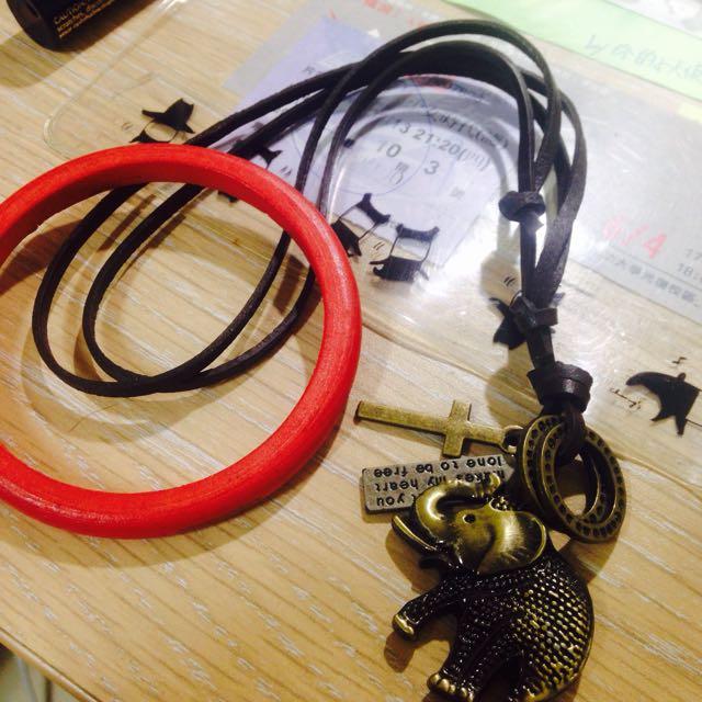 手工皮革項鍊+木製手環