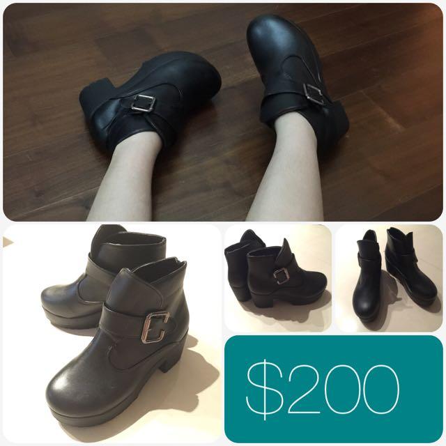 全新✨黑色厚底靴 39/24.5