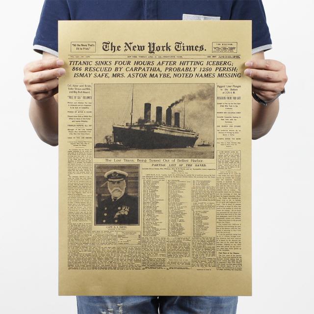 紐約時報 鐵達尼號 歷史時刻 牛皮紙海報