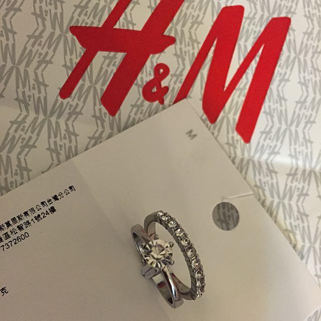 全新 正品 H & M HM 水鑽戒指組 兩入
