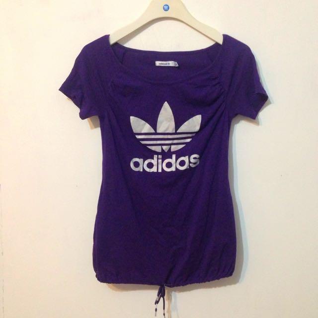 Adidas Originals 三葉草 大圓領 紫色 縮口 短T