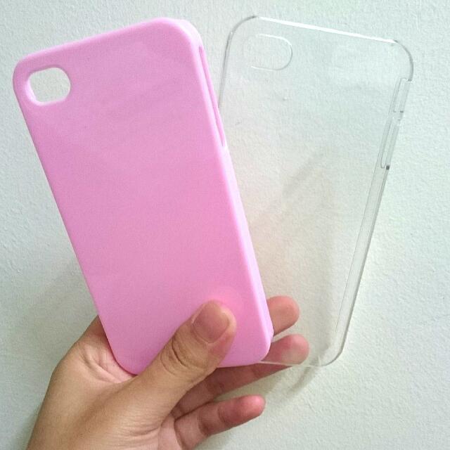 IPhone 4s 素色手機殼粉(紅色/透明)
