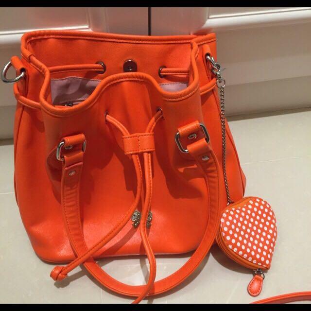 🎉降價👈🏻全新Junior水桶包(亮橘)