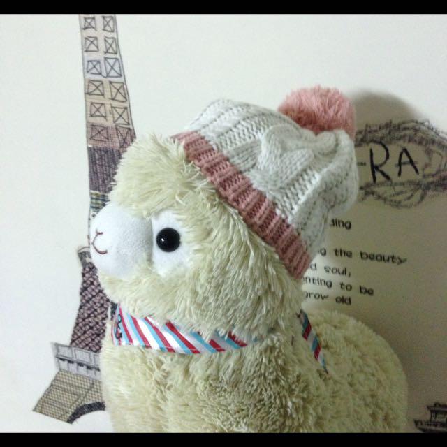 可愛lativ粉白毛線帽