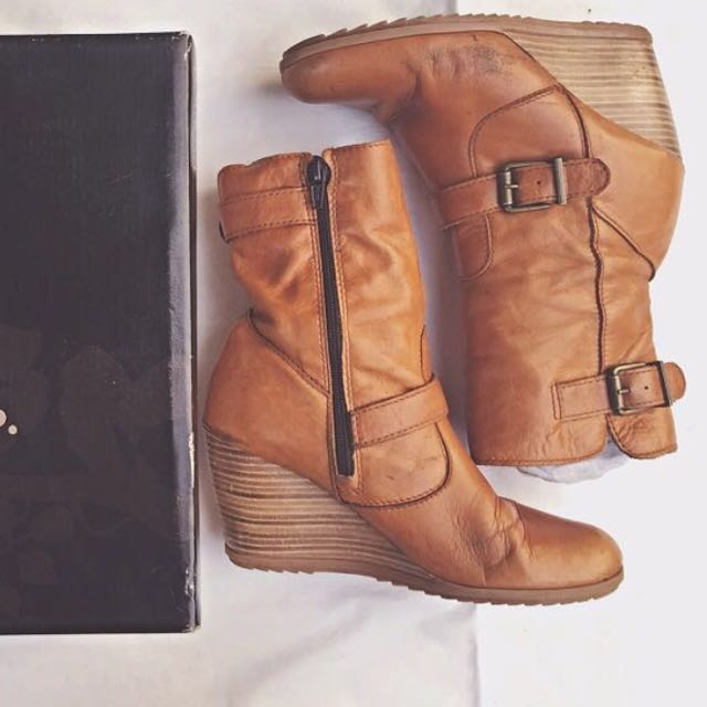 Promod Wedges Leather Boots