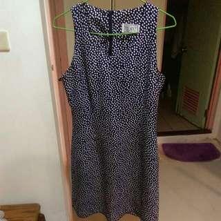 🌲古著質感深藍點洋裝