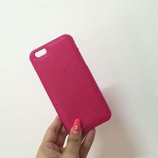 iPhone 6 皮製桃色背板邊框殼