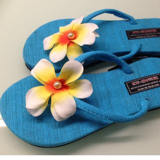 零碼出清【陽光海灘】《雞蛋花 - 寶藍》 夾腳拖 海灘鞋 涼鞋 (大人款)