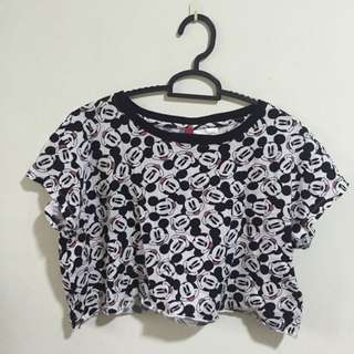 H&M Loose Mickey Mouse Crop Top