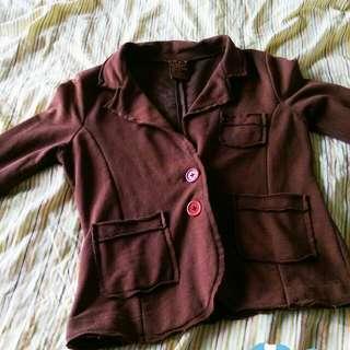 專櫃Roxy咖啡色休閒棉質微厚外套