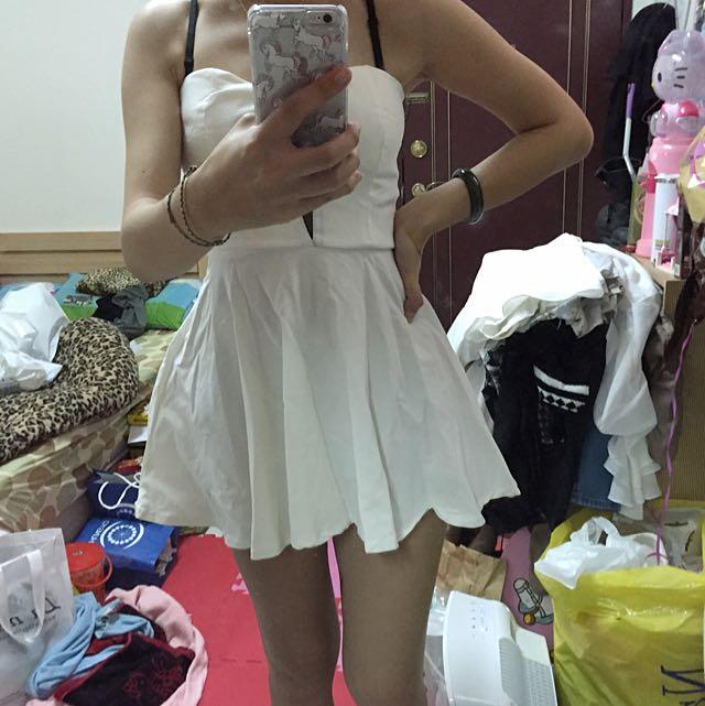 全新馬甲白色洋裝