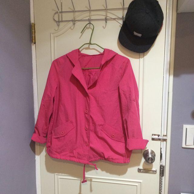 桃紅色抽繩連帽外套💗