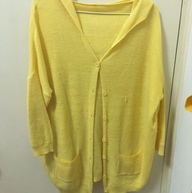 黃色針織薄外套