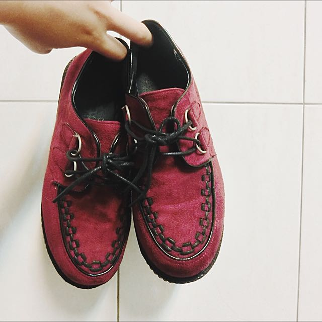 酒紅色厚底鞋