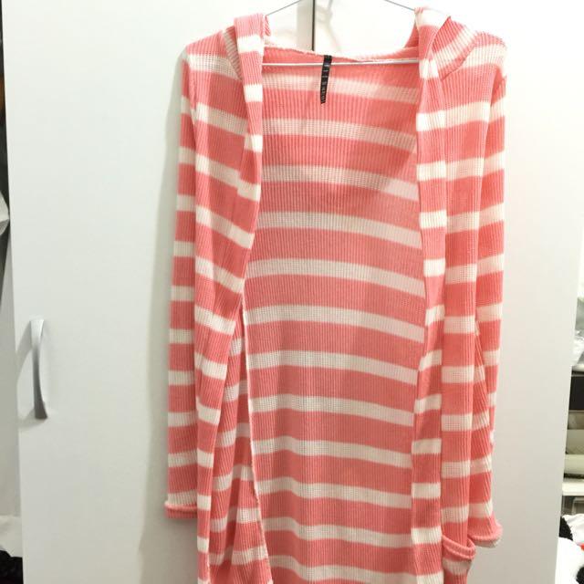 針織橫紋口袋長版外套-粉白色