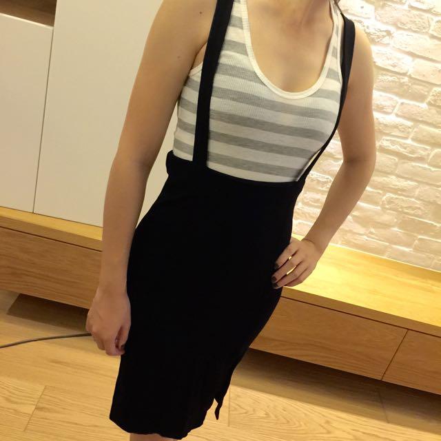 夏季下殺☀️彈性黑色吊帶窄裙