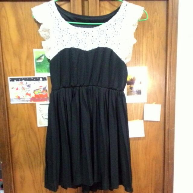 天使 女僕感 自然 雪紡黑拼接蕾絲洋裝