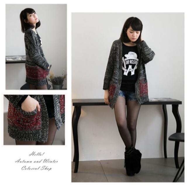 【92二手】圖騰 口袋 混色 開襟 微厚 針織外套 #好秋服飾