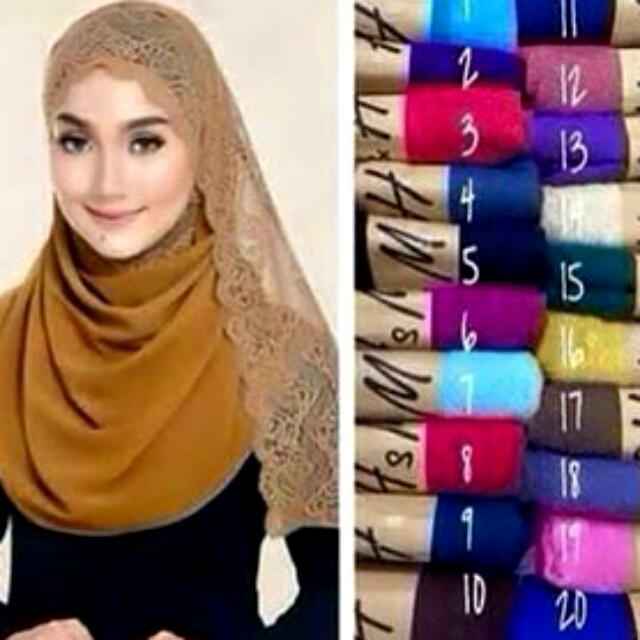 Lace Cotton Shawl/ Hijab