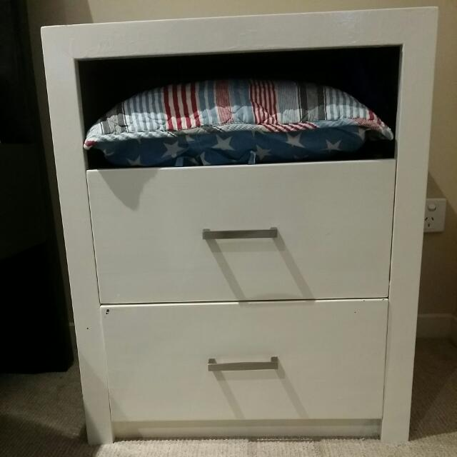 Solid Timber White Bedside Table (Heavy)