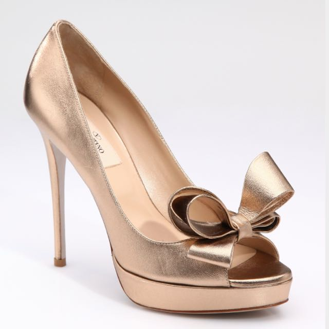 43a152a3179 Valentino Couture Bow Pumps (Bronze) (Size 38)
