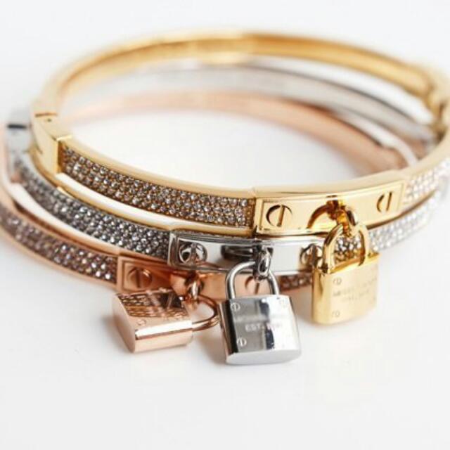 (實拍圖)國購回現貨在台保色強Vitafede Michael Kors同款 水鑽 鎖頭 手環手鍊hermes鈦鋼H&M