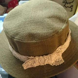 🚚 [二手]日系布蕾蝴蝶結平頂帽 草帽 咖啡色