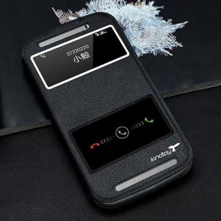 HTC One E8 手機殼 保護套 皮套 左右翻 開窗 視窗 支架 超薄簡約 免掀蓋接聽 黑色