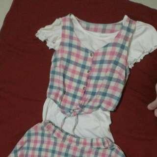 粉藍格 棉麻 兩件式 短版背心短裙