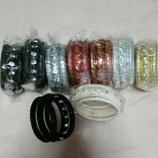 3-Piece Multi-textured Blinged Bangles