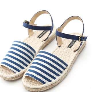 D+af  夏日海軍‧條紋帆布繫踝魚口草編涼鞋