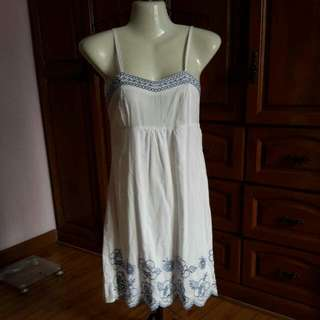 White Cotton Dress With Blue Embroidery