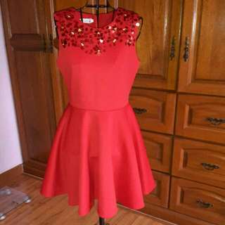Red Skater Dress With Sequin Neckline