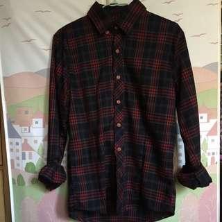 格紋襯衫-長袖 M號